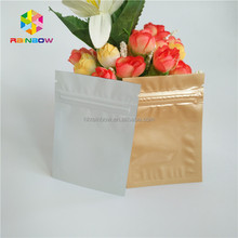 Resealable plastic seeds / dry flowers small three side seal ziplock metallic foil package bag