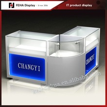 Modern MDF and glass shop counter design for mobile phone shop decoration