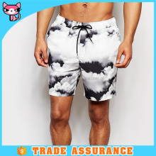 Wholesale USA design white cloud pattern hawaiian shorts board for men