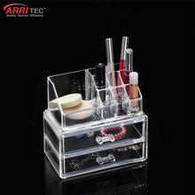 cosmetic holder organizers 2 drawers acrylic makeup kit box