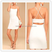Off Shouder Backless Sexy White Cocktail Women Dress(QZ050904)