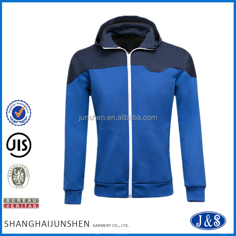2016 Autumn/Winter Men 100% Polyester Color Blocking Custom Zip High Quality Wholesale Blank Hoodie