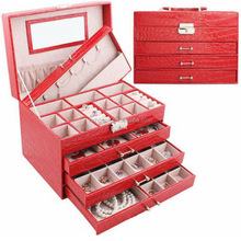 Hot sales red cute pu leather deawers for womens jewelry box