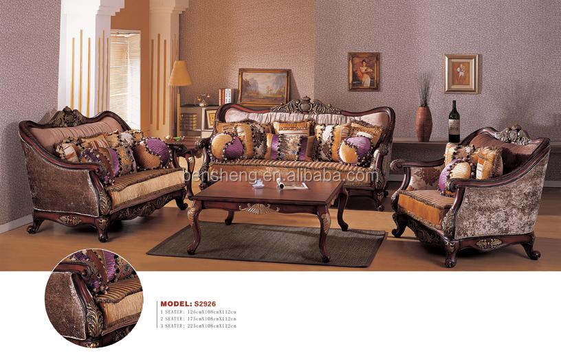 S2926 Foshan Sectional Sofaluxury Classic European Sofa Set Antique Fabric
