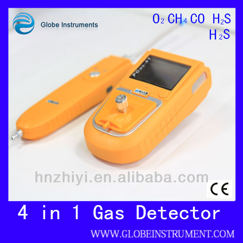 portable multiple gas detector for oxygen, carbon monoxide, hydrogen sulfide and methane gases
