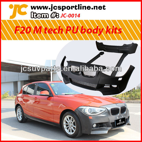 For BMW new 1 series F20 M tech PU body kit including front bumper, side skirts, and rear bumper