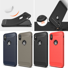 New Hot Rugged Armor Shockproof Carbon Fiber TPU Phone Case for iPhone X, 4 Colors Available