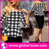 New Designs Plaid Pencil Straight Midi Dress Women Daily Office Wear