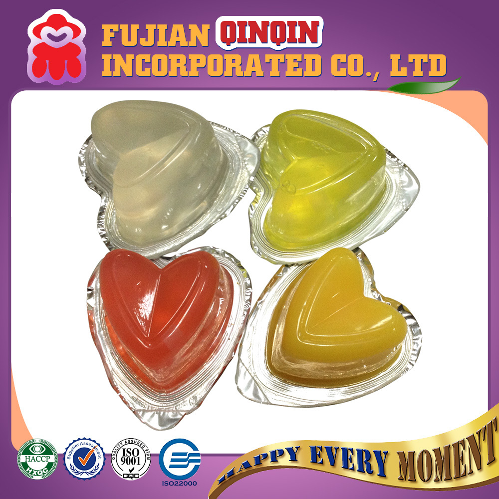 heart shape mini fruit jelly lychee pudding with nata de coco