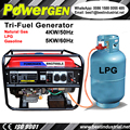 Best Seller!!! POWERGEN Home use Air cooled Portable Tri-Fuel Gasoline/LPG/Natural Gas Generator 4KW