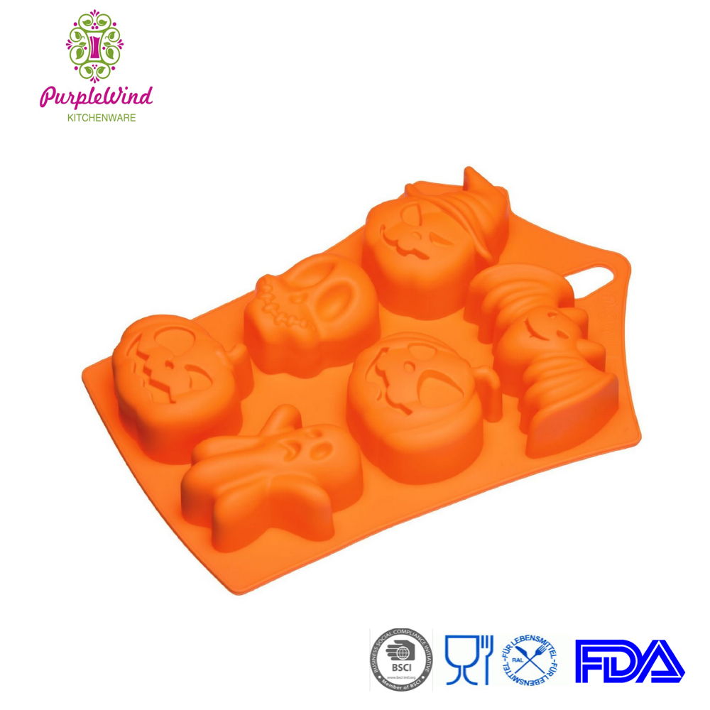 2015 Hot 6 cavity different shape Halloween silicone cake mould for kids/silicone baking pan