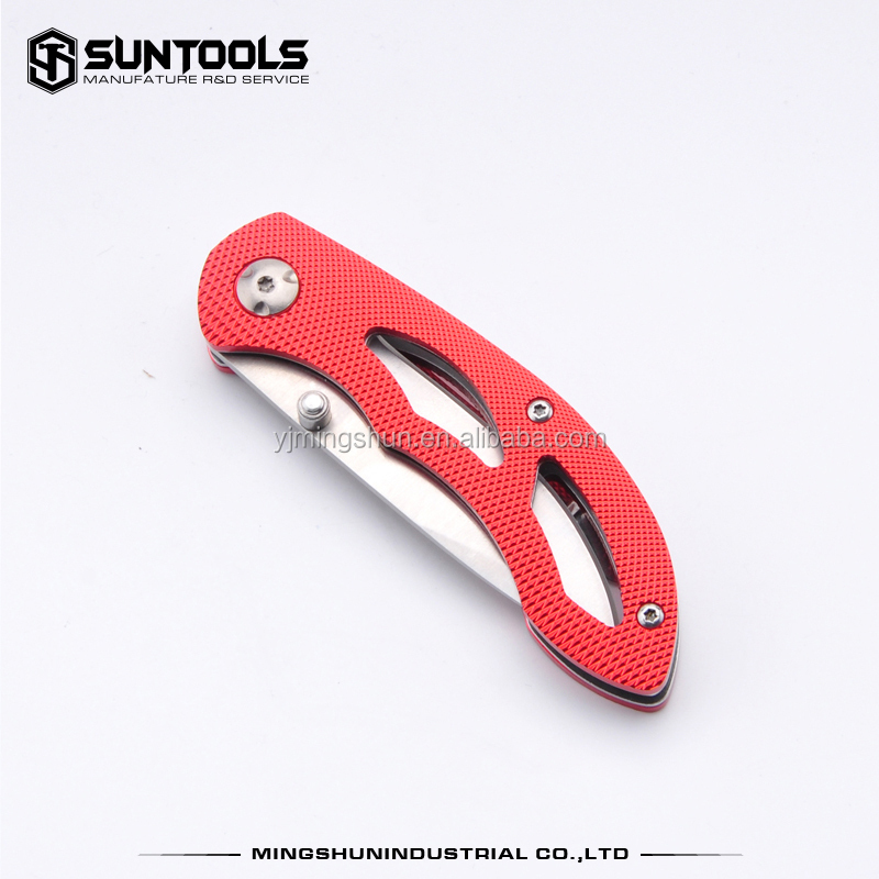 High quality stainless steel folding blade with aluminum handle pocket utility knife