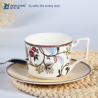colorful painting hot sale high quality fine bone china unique shape coffee cup and saucer set