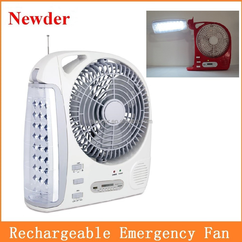 Multi function rechargeable electric emergency charger fan with table light