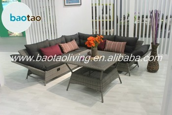 Living room sofa furniture, modern design sofa set, rattan corner sofa