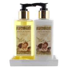 white ceramic tub 2pieces bath set 200ML body lotion and shower gel