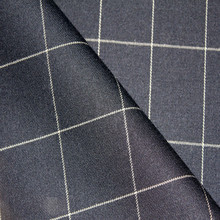 High Quality Check Blue Wool Polyester Lycra Blend Men Wool Suit Fabric