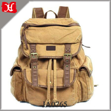 Vintage Canvas Leather Travel Rucksack Military Backpack 2017 Style