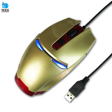 Hot sale 6D led light cool iron man shape gaming mouse