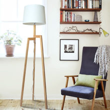 Chinese Wooden Standing Tripod Floor Lamp Modern Textile