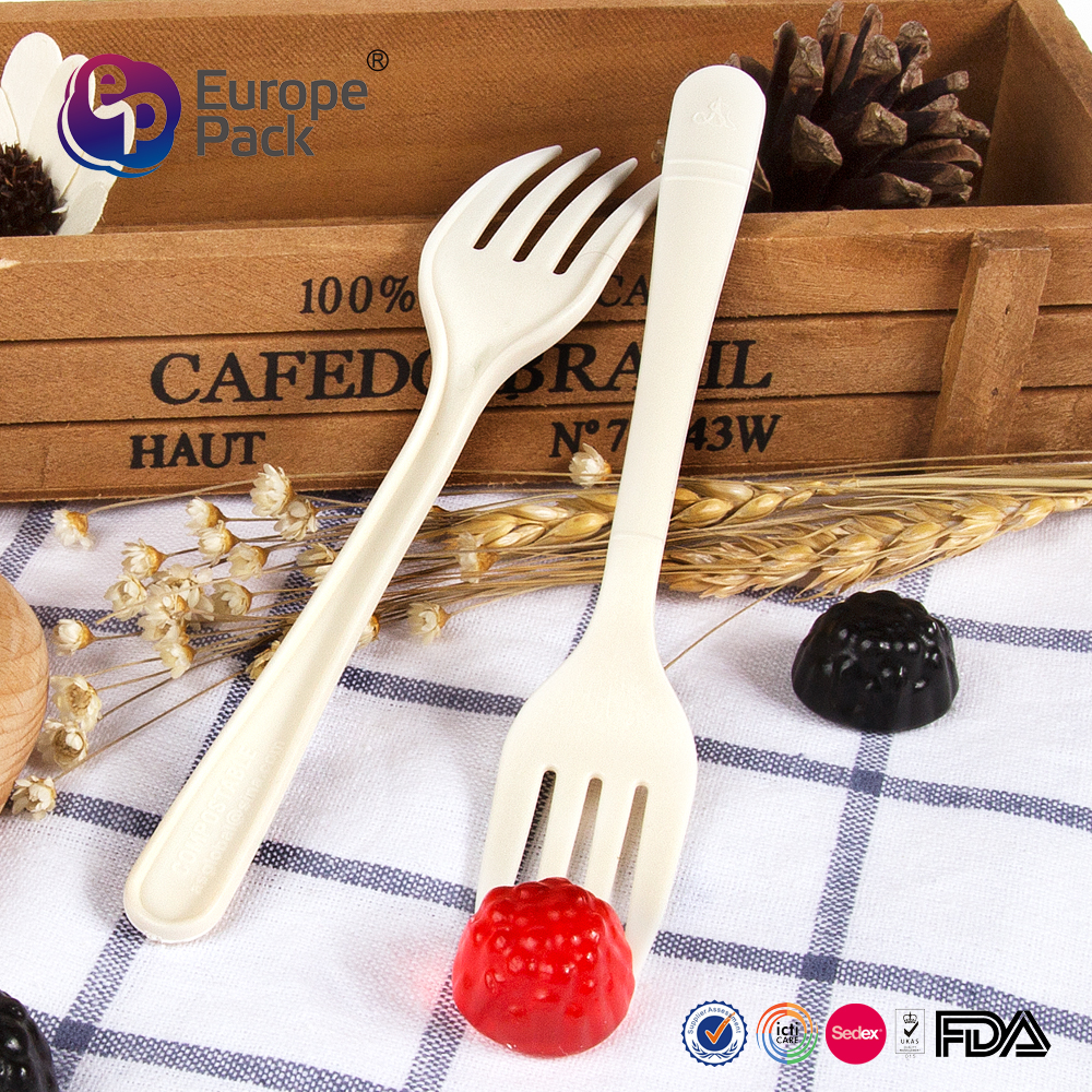 Tableware food grade plastic biodegradable disposable fork for dessert