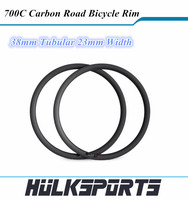 Ultra Light 38mm tubular 700c carbon road rims 23mm width bicycle carbon cycling rims carbon bike rim