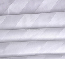 white 100% cotton sateen stripe fabric for hotel use