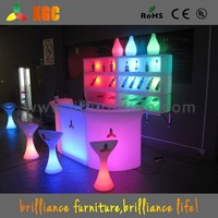 Battery Rechargeable Plastic Glowing cool led bar counter design,modern furniture illuminated LED bar counter