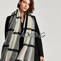 New coming cream and black acrylic check plaid oversize warm scarf