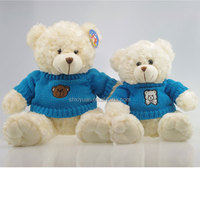 Wholesale plush stuffed teddy bears with knitted sweater