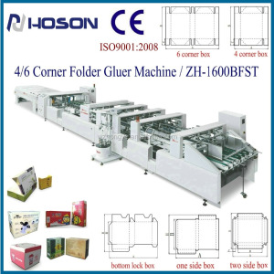 ZH-1600BFST Automatic 4 6 Corner Folding Carton Box Gluing Machine/Pizza Box Forming