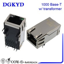 China Suppliers KRJ-339EGYGENL Cat5 LAN network plug with transformer LED metal shielded 1*1 1000 BASE-T RJ45 connector modular