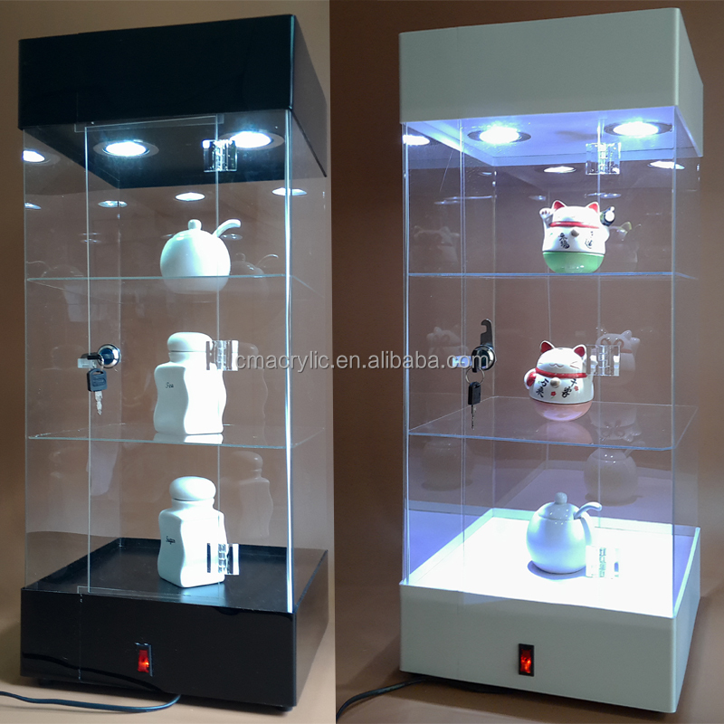 Factory Sale Large Floor Standing LED Light Lamp Acrylic Display Cabinet With Lock For Comestic/Toys/Camera..
