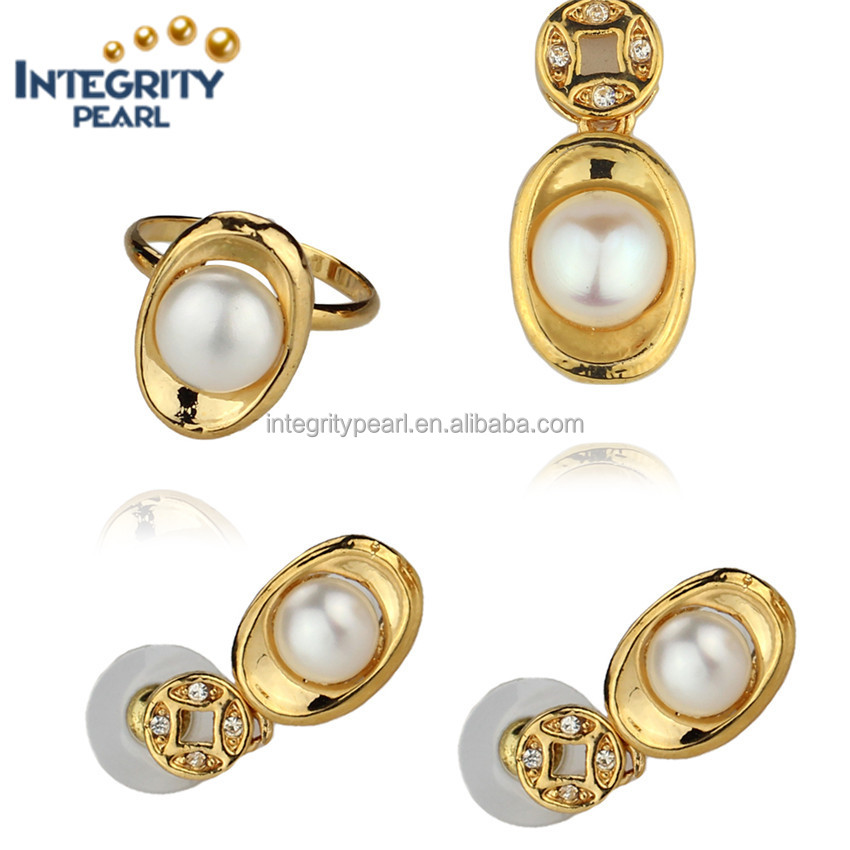 Natural cultured 8.5-9mm button pearl Pendant/Earrings/Ring set with chain genuine jewelry freshwater pearl set gold silver