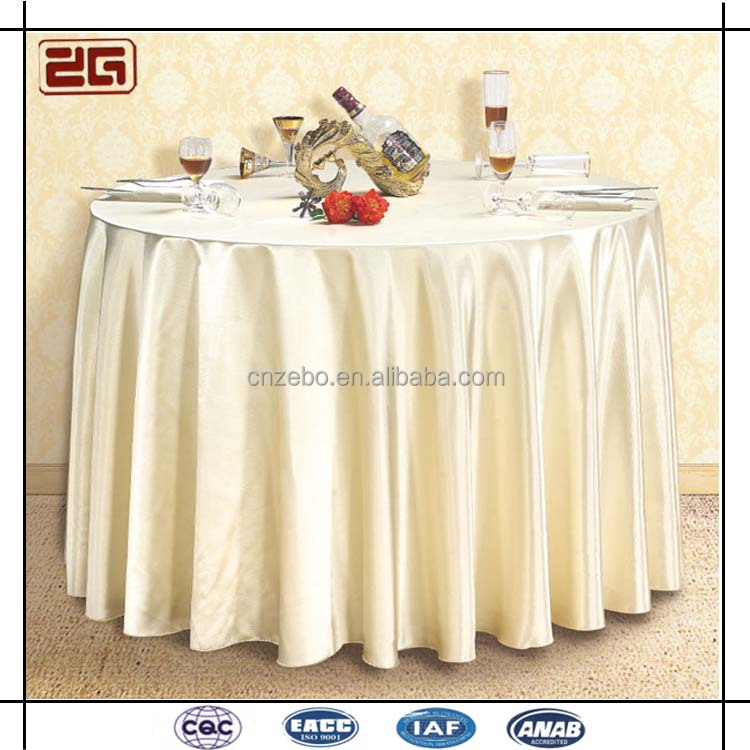 100% Polyester Plain Woven Fabric Banquet Used Round Linen Table Cloth