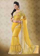 Net yellow designer saree