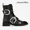 fashion ladies women eyelet rivet stud military ankle motorcycle boots