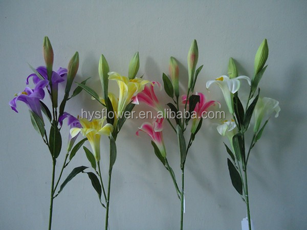 exquisite wedding decorative flowers ,silk plastic lily flowers with 3 head for sale