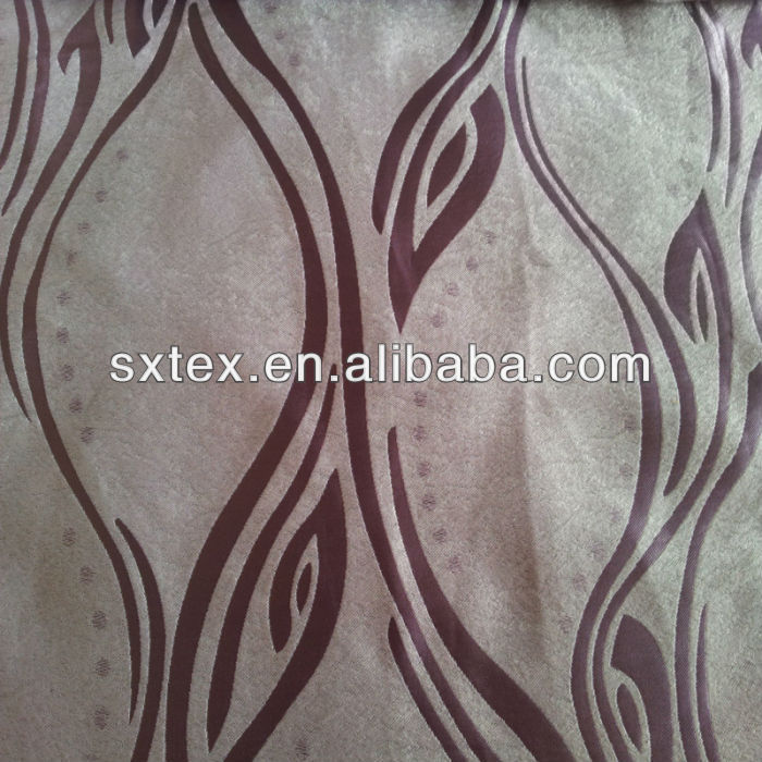 Modern Wave Line Leaf Design Fleece Base Blackout Jacquard Curtain Fabric