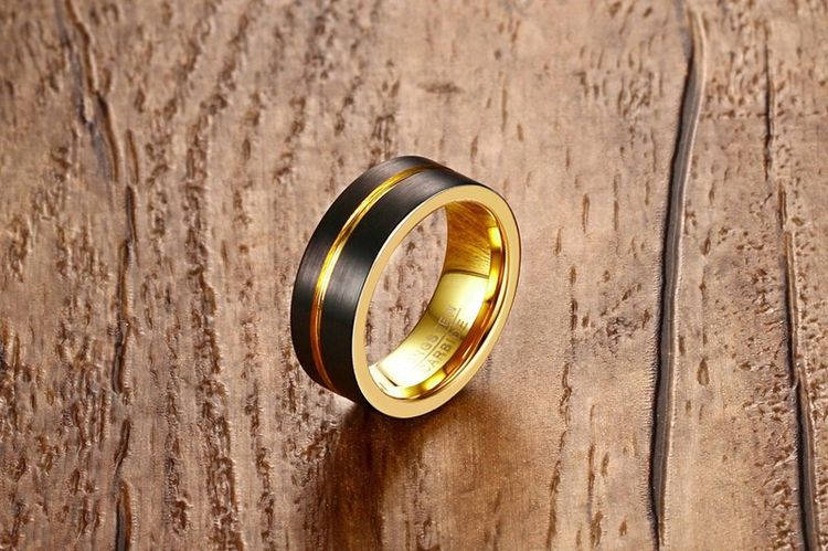 Fashion Design Men Jewelry Gold Black Plating 8mm Matte Finish Tungsten Steel Ring For Man