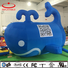 Inflatable blue whale with QR code , inflatable whale replica, inflatable promotion mascot