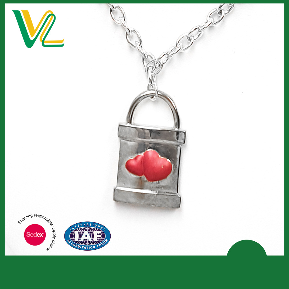 Factory professional Die casting Silver Lock Shape poly paint Charm Chain Pendant for teenagers