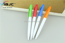 Logo printed personalized stationery white plastic ballpoint pen