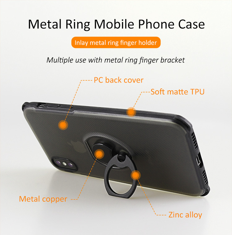 New arrival Metal Buckles Finger Ring Holder Phone Case For iphone X soft matter tpu