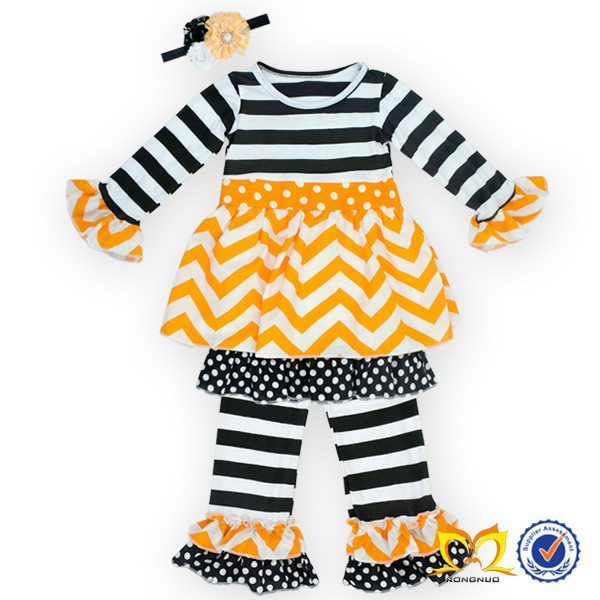 Newest Kids Clothing Factory Girls Festival Autumn Winter Stripe Knitted Baby Girls Chevron Clothing Sets With Ruffle