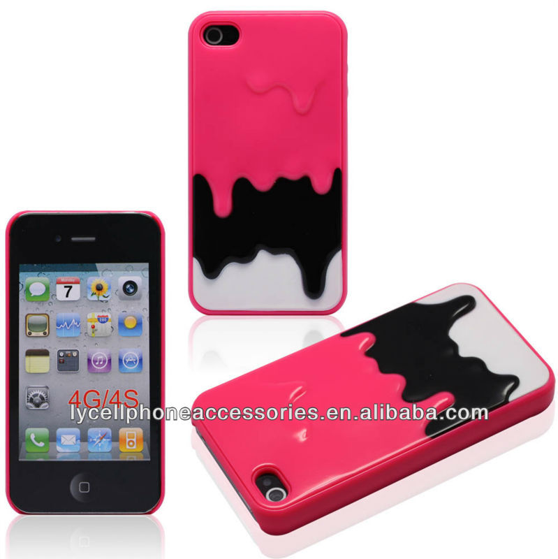 Mobile Phone Accessories For Iphone 4G 4S Hot Pink Hard Ice-cream Design Case