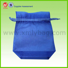Customized Blue Silk Organza Retail Bags With Tags
