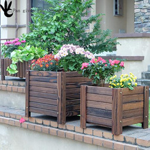 Outdoor Garden Wooden Planter/Wholesale Flower Pots/Wooden Bulk Flower Box