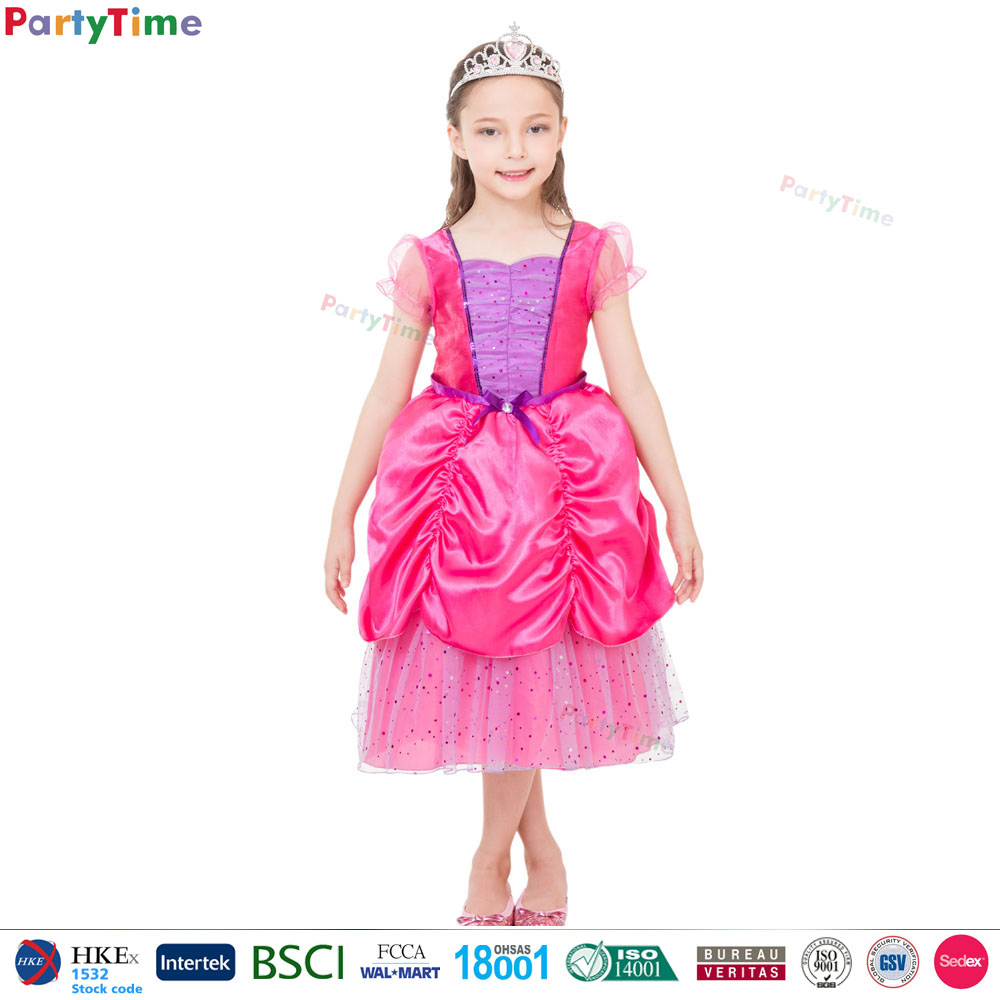 kids pink sweet princess dress cheap party costumes halloween costumes bulk dresses for girls of 7 years old