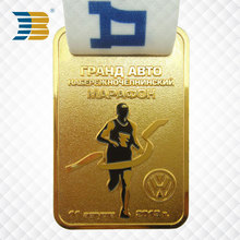 Best selling products custom made gold plated soft enamel running metal award medal